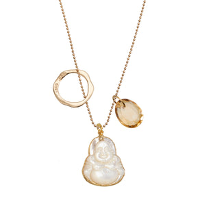 Acceptance Mother of Pearl Buddha Jangle w/ Golden Citrine