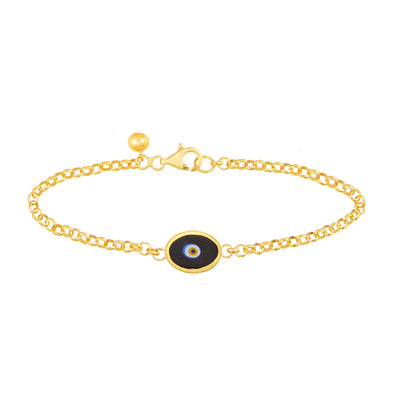 Black Protection Single JuJu Evil Eye Bracelet in 24K Gold