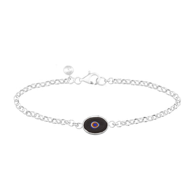 Black Protection Single JuJu Evil Eye Bracelet in Sterling