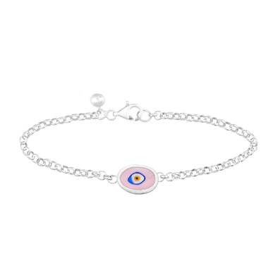Lilac Protection Single JuJu Evil Eye Bracelet in Sterling