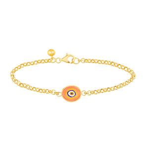 Orange Protection Single JuJu Evil Eye Bracelet in 24K Gold