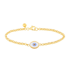 White Protection Single JuJu Evil Eye Bracelet in 24K Gold