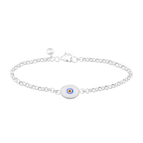 White Protection Single JuJu Evil Eye Bracelet in Sterling
