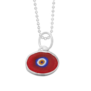 Red Protection Juju Eyeball in Sterling Silver
