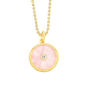 Protection 24K Rose Quartz and Diamond Evil Eye