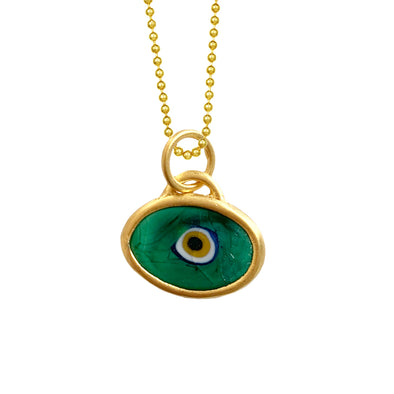 Green Protection JuJu Eye in 22K Gold