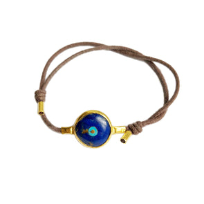 Protection Inlaid Lapis 24K Evil Eye Protection Bracelet