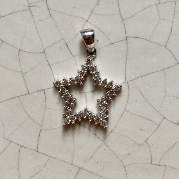 Vintage White Gold Diamond Star