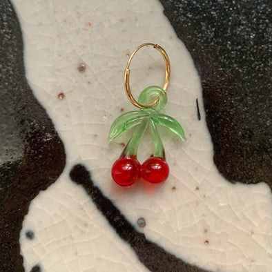 French Cherries on 14K Hoop