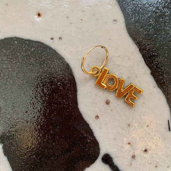 Vintage Brass Love on 14K Hoop
