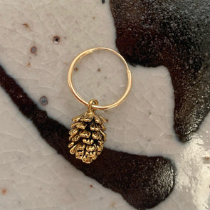 Vintage Brass Pinecone on 14K Hoop
