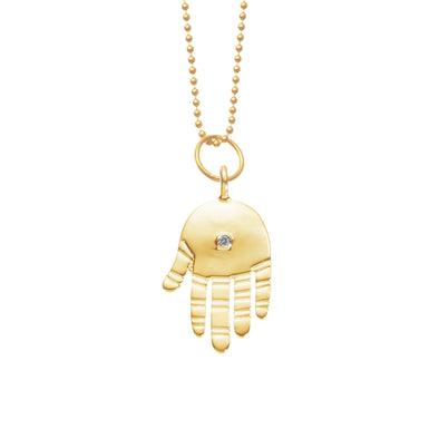 Protection Hamsa in 14K Gold w/ Diamond
