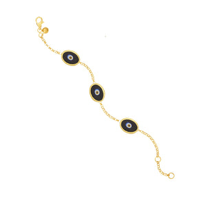 Black Protection Triple JuJu Eye Bracelet in 24K Gold