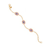 Lilac Protection Triple JuJu Eye Bracelet in 24K Gold
