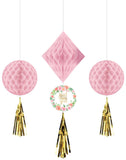 Floral Baby Shower Honeycomb Hanging Decorations