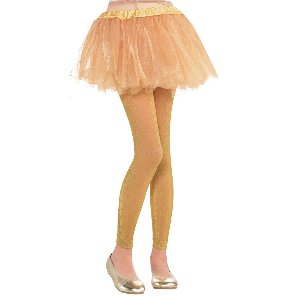 Footless Child Costume Gold Tights