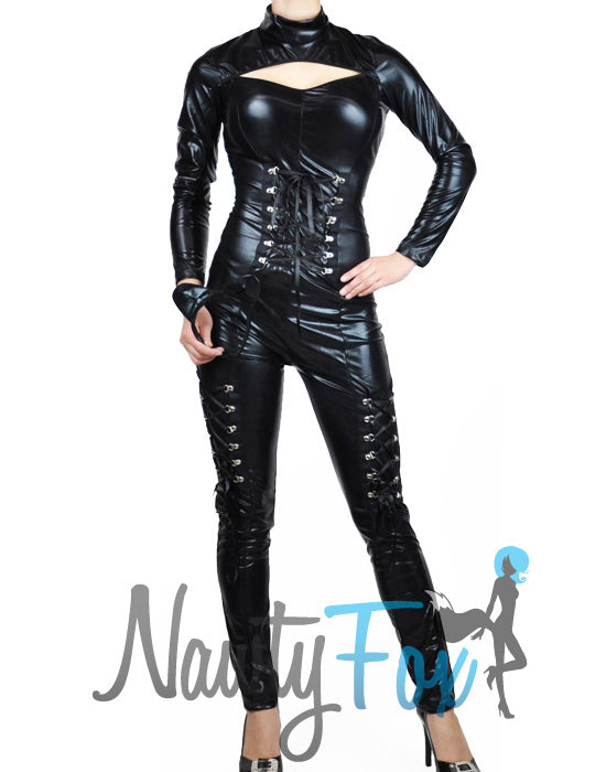 Black Metallic Fetish Catsuit Bodysuit Full Body Superhero Costume