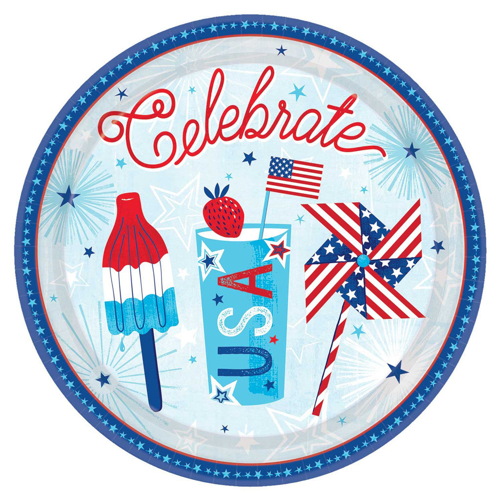 Celebrate USA Party 10.5 Inch Round Plates