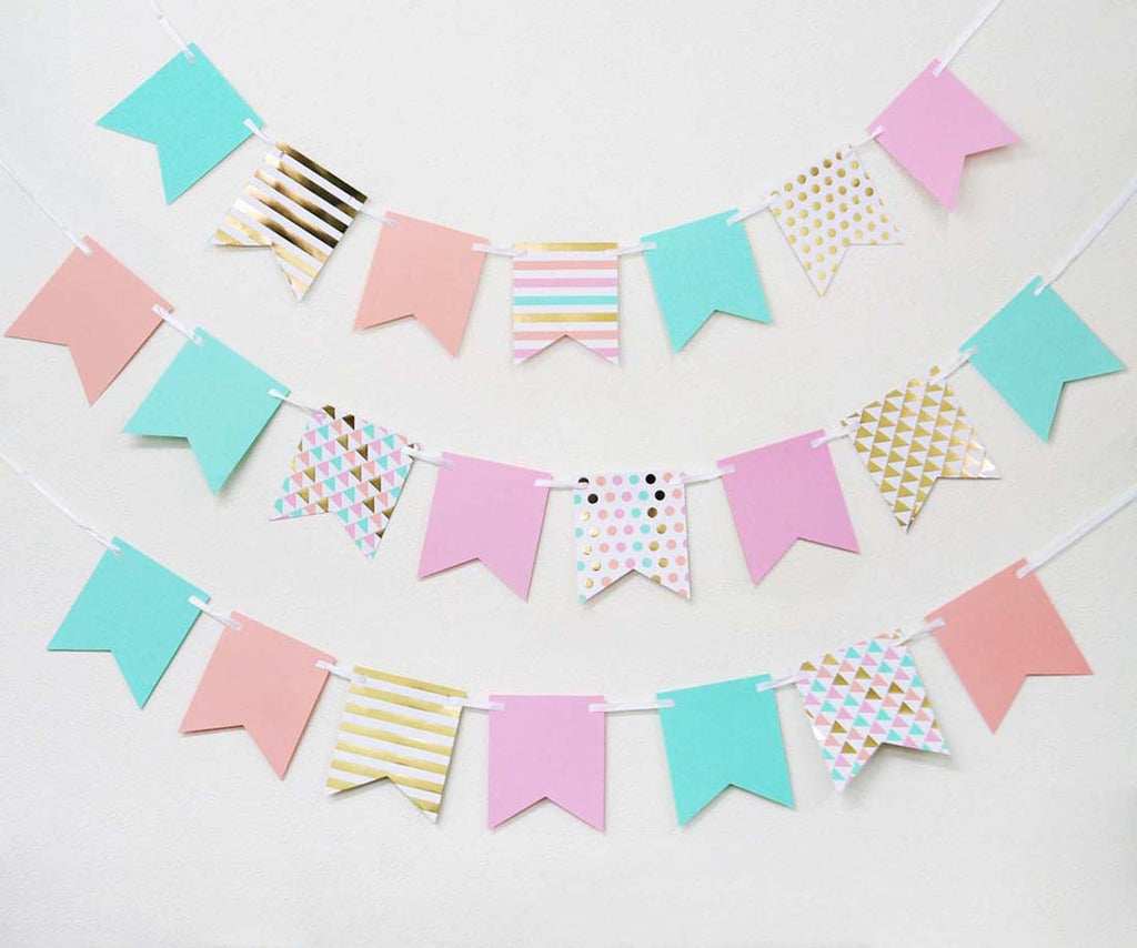 Pastel Color Theme Party Mini Pennant Banner