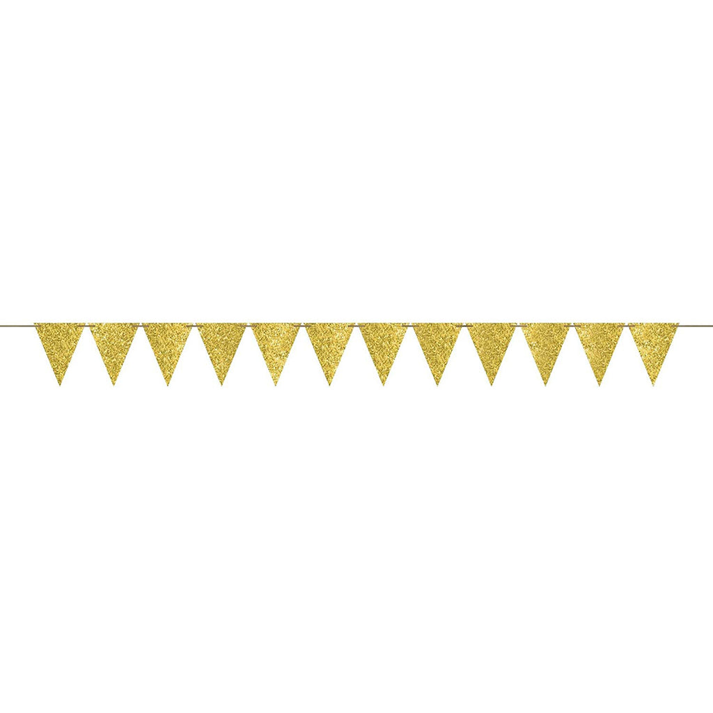 Gold Sparkle Pennant Party Banner
