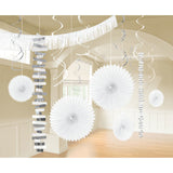 White Hanging Party Decoration Kit