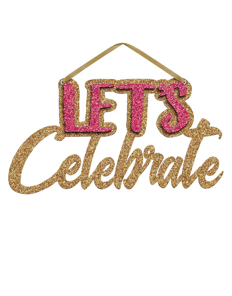 Let'S Celebrate Glitter Hanging Sign