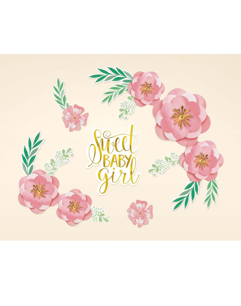 Floral Baby Shower Backdrop Wall Cutouts