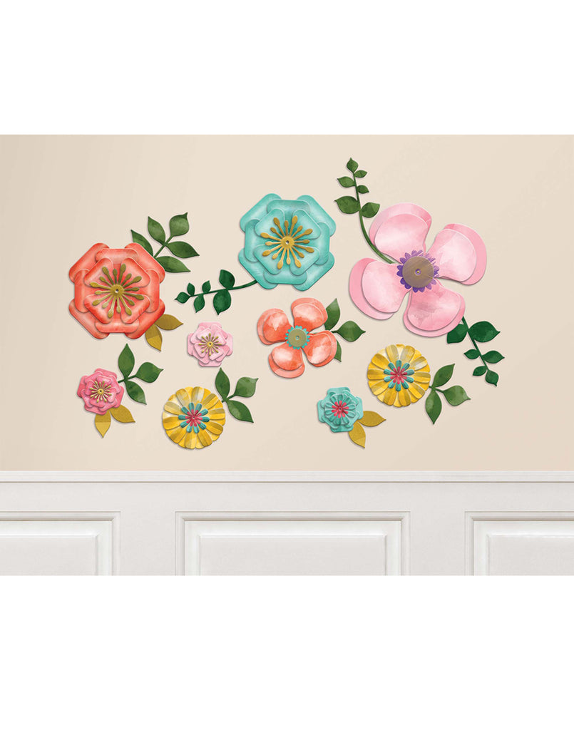 Bright Flowers Party Wall Cutouts