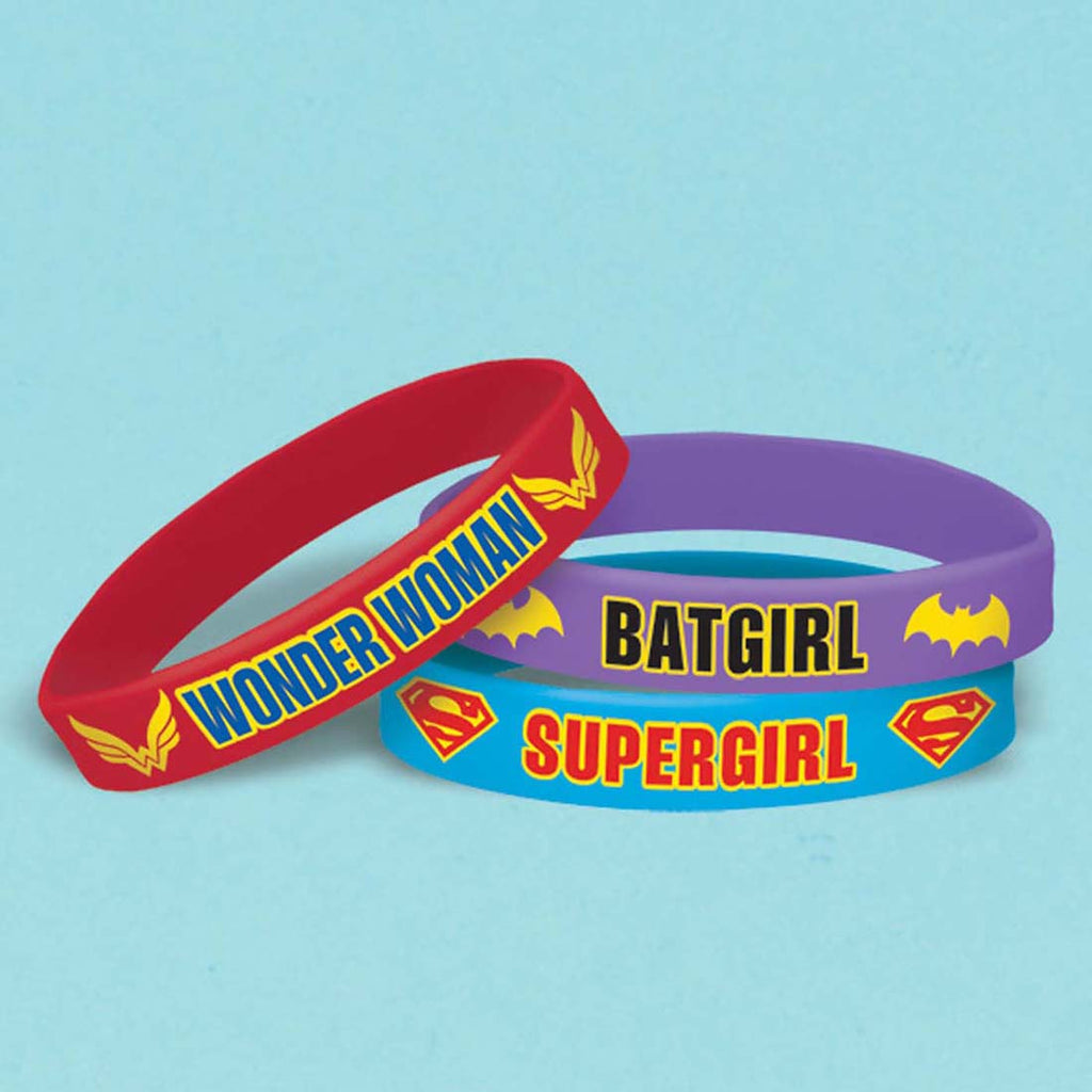 Superhero Girls Birthday Rubber Bracelet Party Favors