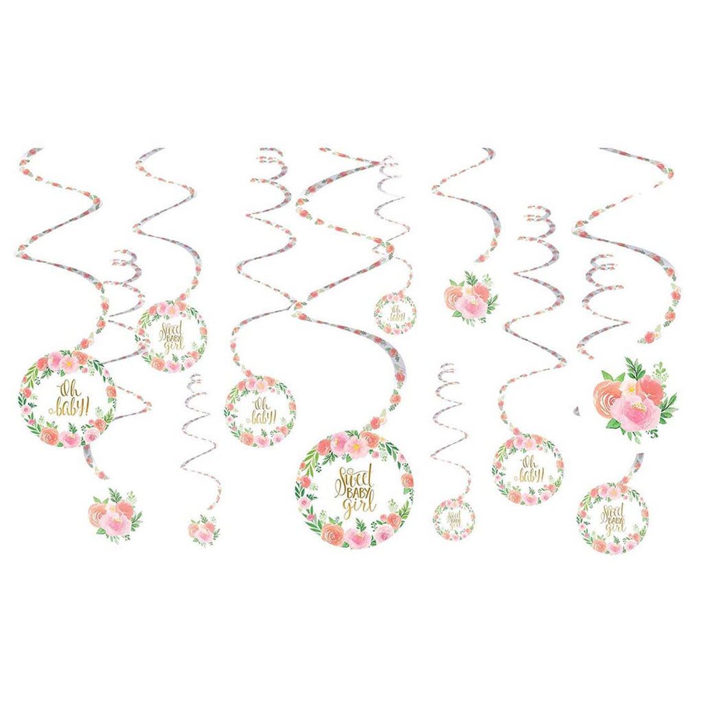 Floral Baby Shower Spiral Hanging Decorations