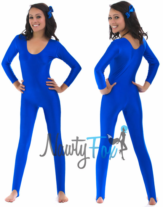 Shiny Stretchy Spandex Blue Scoop Neck Long Sleeve Unitard Dancewear Bodysuit