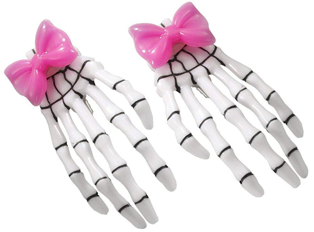 Skeleton Hand Pink Hair Bow Clips