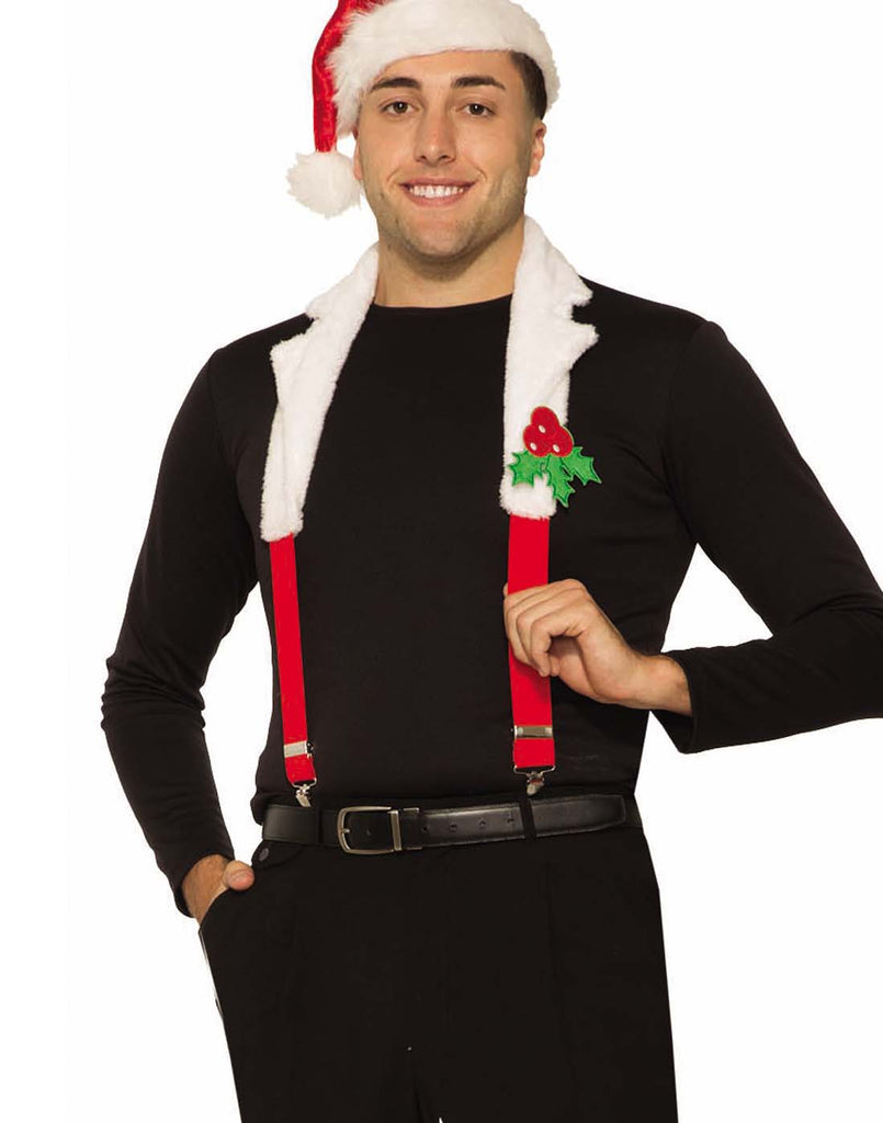 Christmas Suspenders With Collar Adult Set