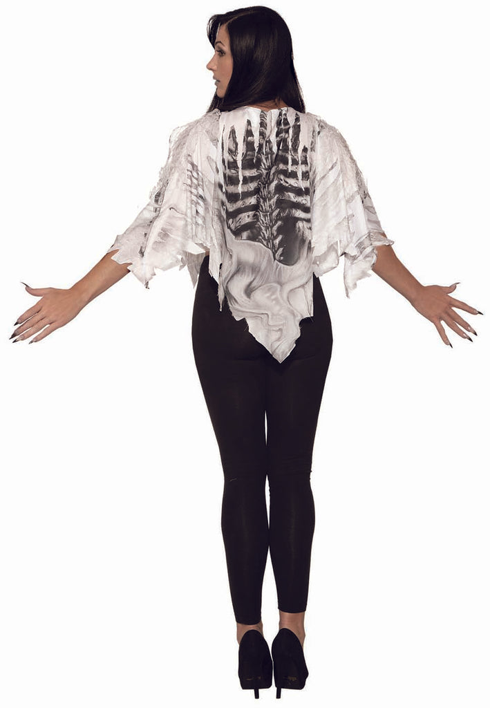 Skeleton Adult Costume White Poncho