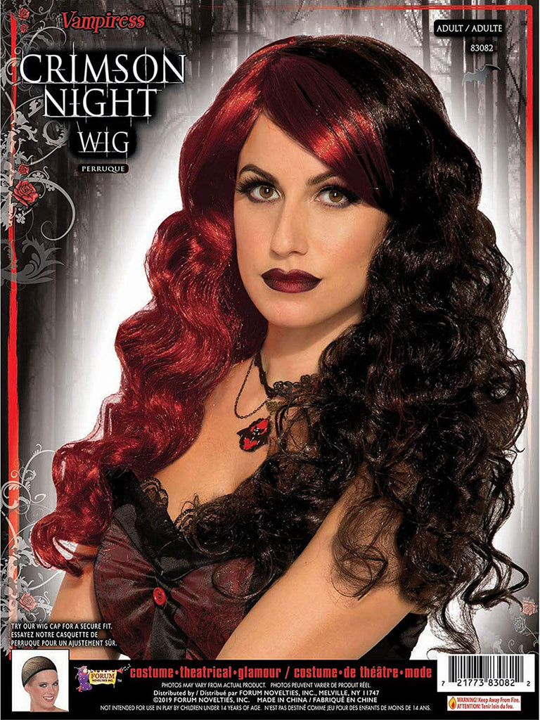 Crimson Night Womens Black Red Wig
