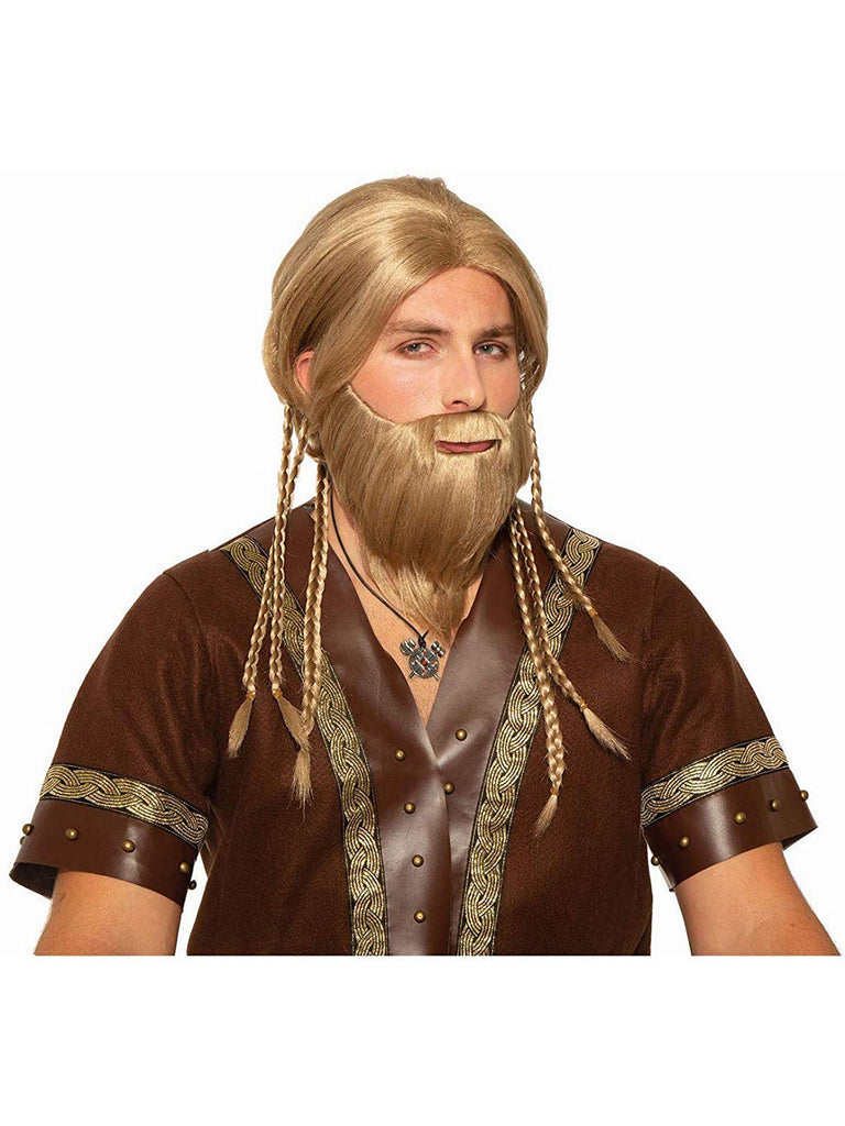 Viking Mens Blonde Moustache Beard Set