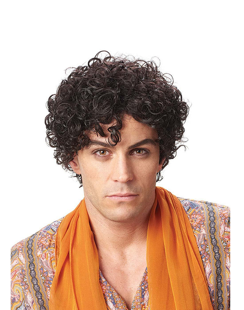 Persian Prince Men's Short Black Curly Costume Wig