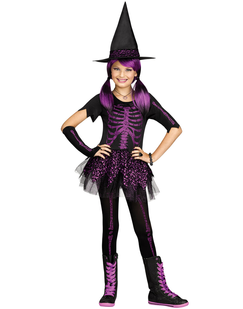 Skeleton Witch Girls Gothic Halloween Costume