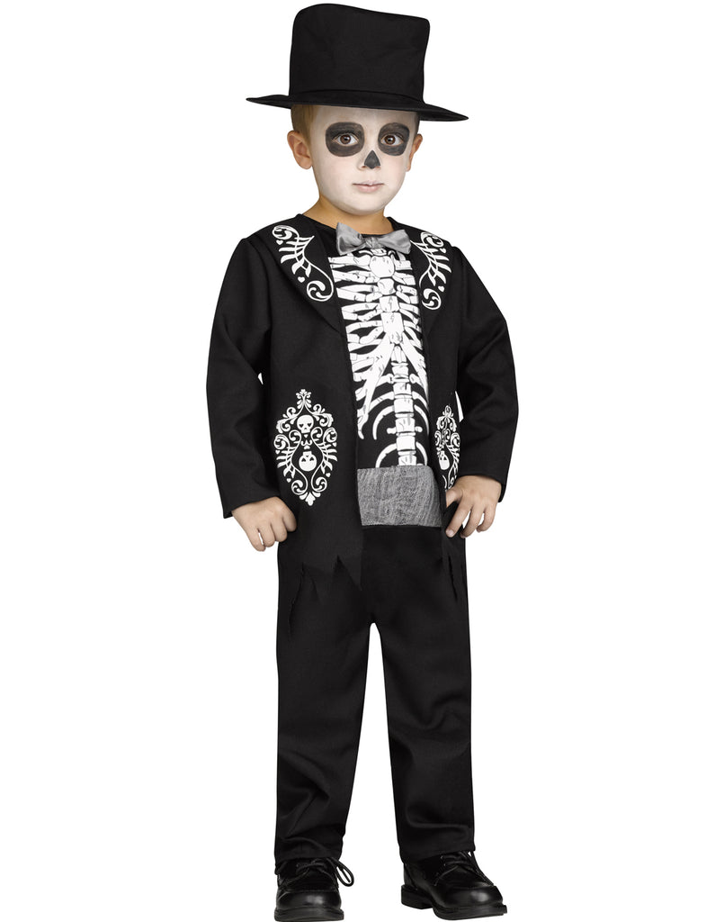 Skeleton King Toddlers Day Of The Dead Halloween Costume – Costume Zoo