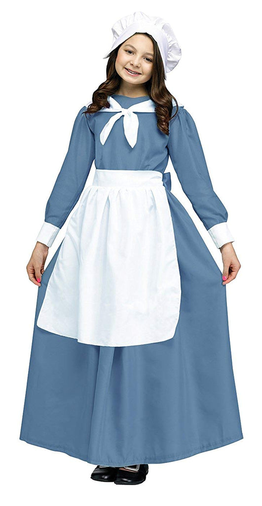 Pilgrim Girls Child White Apron And Cap