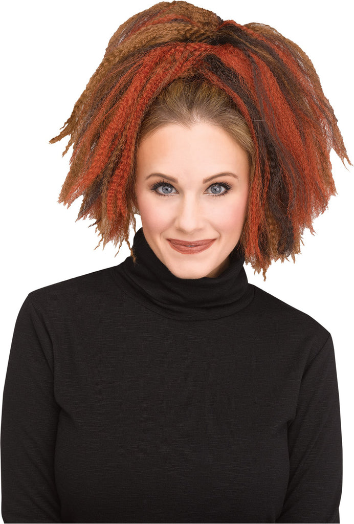 Brown Auburn Crimped Womens Costume Hair Piece