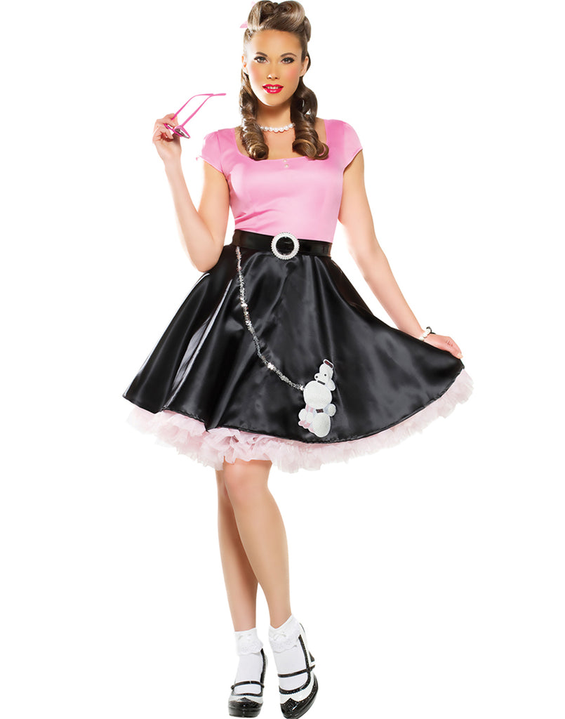 50 S Sweetheart Womens Grease Black Poodle Skirt Halloween Costume Costume Zoo
