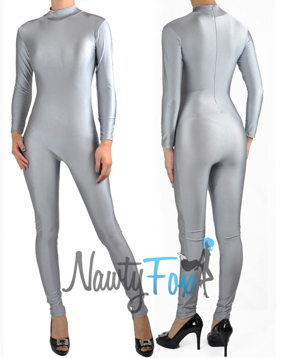 Shiny Spandex Gray Mock Neck Long Sleeve Unitard Bodysuit Costume Dancewear