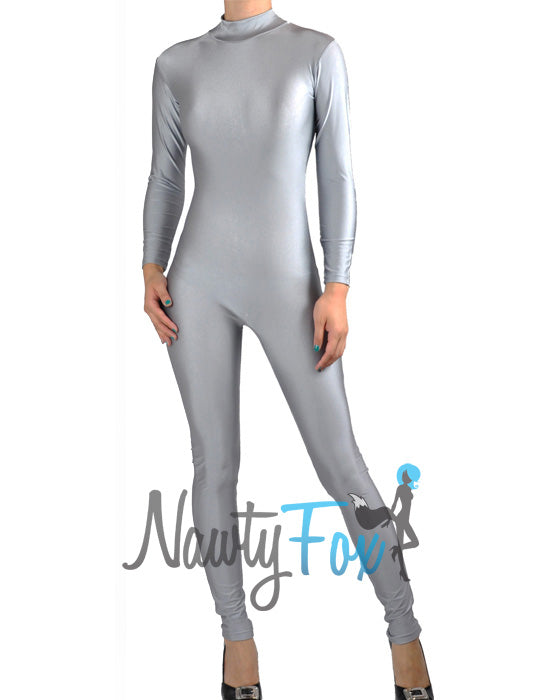Shiny Spandex Gray Mock Neck Long Sleeve Unitard Bodysuit Costume Dancewear-Reg and Plus Size