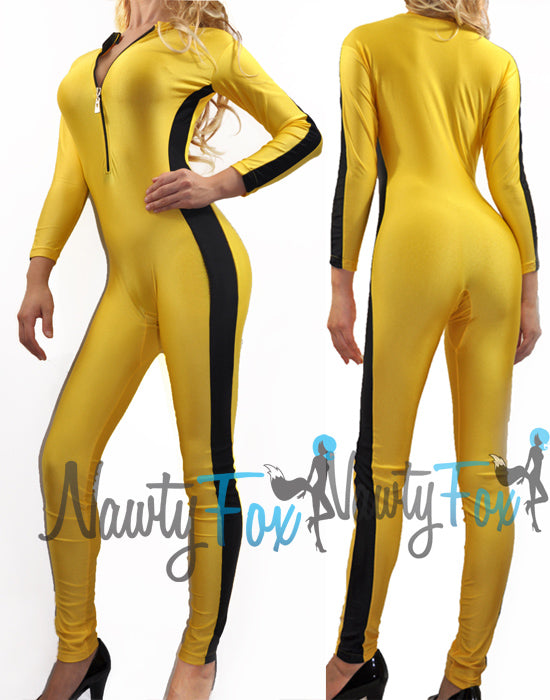Adult Yellow Front Zip Shiny Spandex Unitard Jumpsuit Bodysuit Dancewear Kung Fu Martial Art Costume