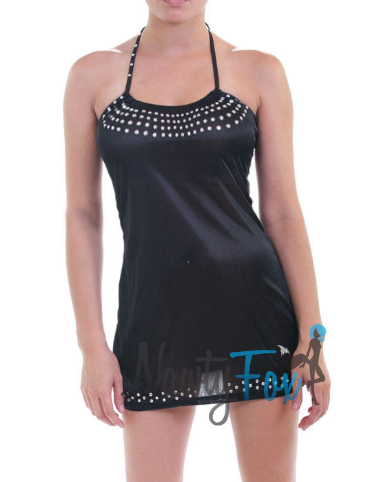 Black Rhinestoned See-Through Dress