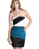 Teal Blue Rhinestone Strapless Tube Dress