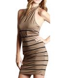 Tan Mock-Neck Halter Mini Dress