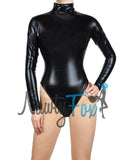 Black Metallic Mock-Neck Long Sleeve Leotard Bodysuit Catsuit Costume-Reg and Plus Size