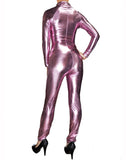 Pink Metallic Wet Look Fetish Super Hero Bodysuit Catsuit Costume